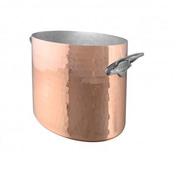 Seau à champagne ovale Cuivre martelé monture Fonte Inox M'30